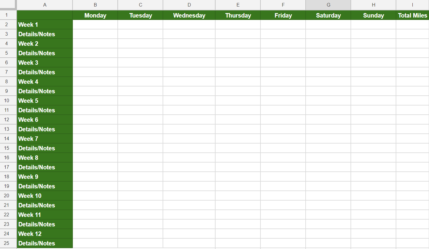 excel spreadsheet for workout planning